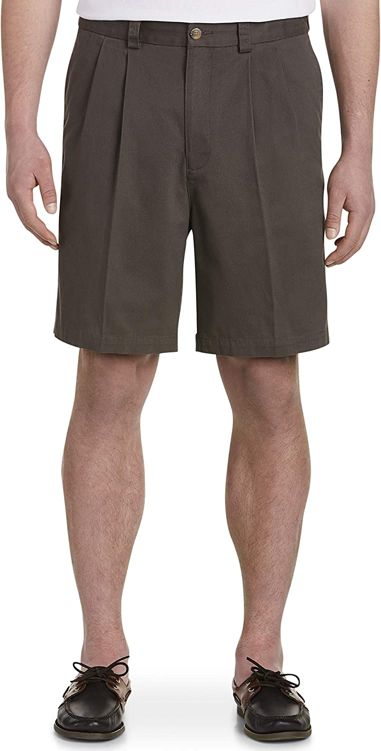 Harbor Bay by DXL Big and Tall Waist-Relaxer Pleated Twill Shorts