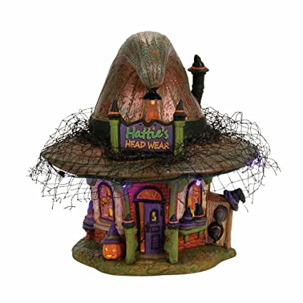 7f87f11208a019 Amazon.com: Department 56 Village Halloween Hattie's Hat Shop Lit House:  Home & Kitchen