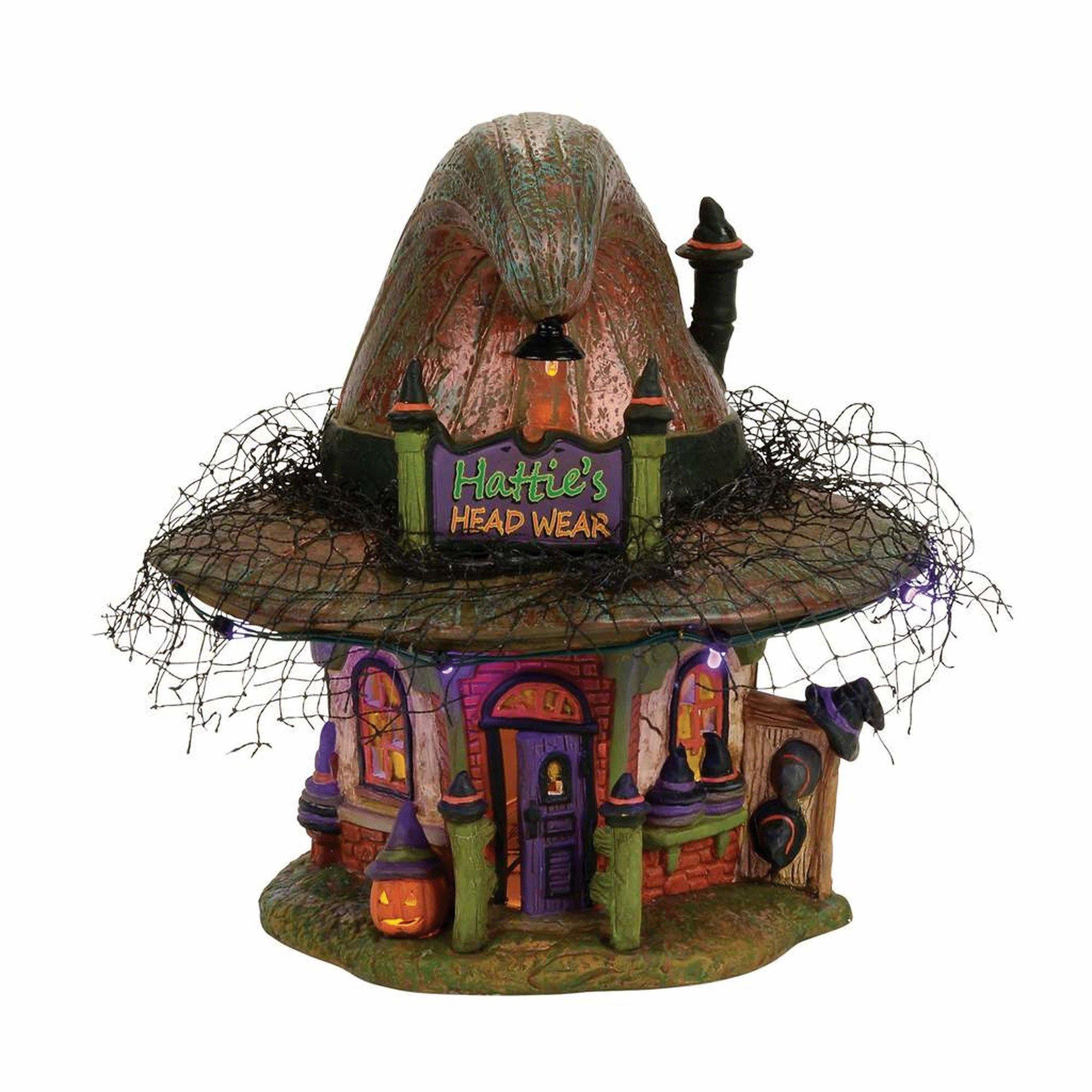 Department 56 Village Halloween Hattie's Hat Shop Lit House