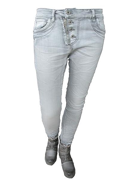 Lexxury Jewelly Damen Baggy Boyfriend Jeans schräge Knopfleiste Front Zip Weitere Farben