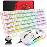 Wired Gaming Keyboard Mouse Combo Chroma RGB Backlit Mechanical Keyboard with 61 Keys Anti-ghosting Floating Keycaps…