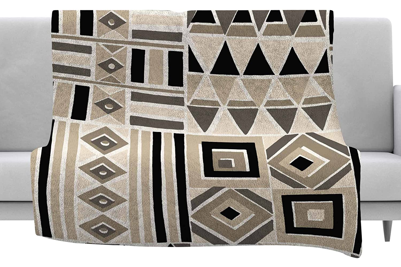 40 x 30 Fleece Blanket Kess InHouse Jacqueline Milton Heatwave-Latte Beige Brown Illustration Throw