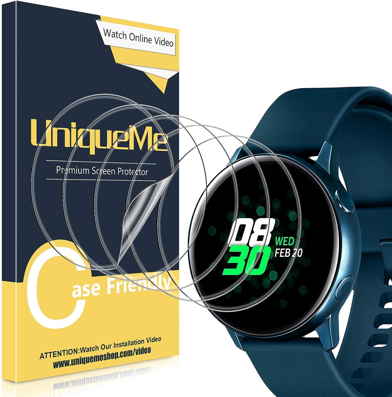 UniqueMe [5Pack] Protector de Pantalla para Samsung Galaxy Watch Active 40mm / Samsung Galaxy Watch Active 2 40mm, Película Transparente de Burbuja de TPU Huella Digital Disponible
