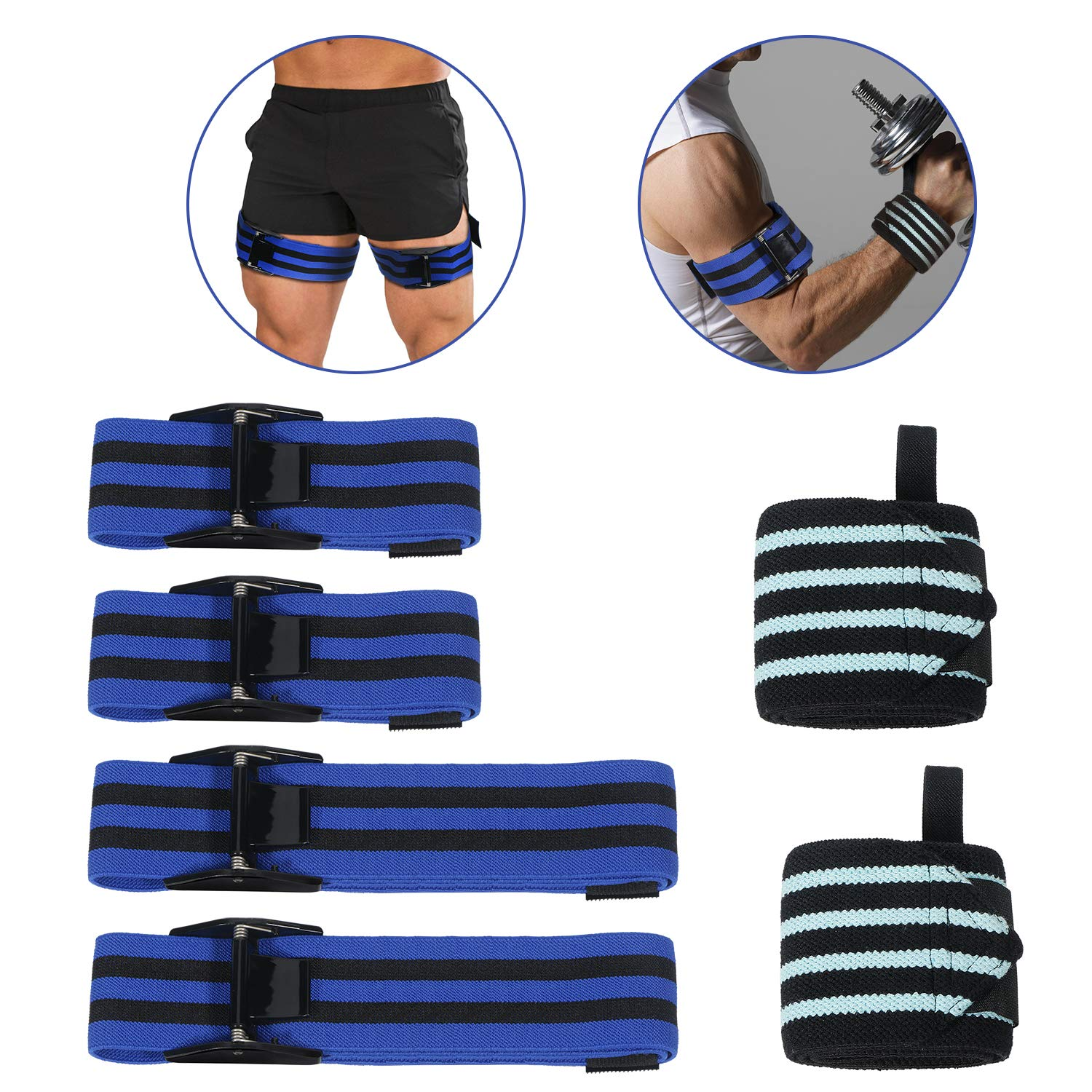 LC-dolida Occlusion Training Bands, Bands for BRF Bodybuilding Weight Blood Flow Restriction Bands Arm Leg Wraps Fast Muscle Growth Gym Equipment, Quick Release
