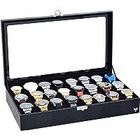 Porta-Relógios Total Luxo Couro Ecológico Preto Preto 24 Divisórias
