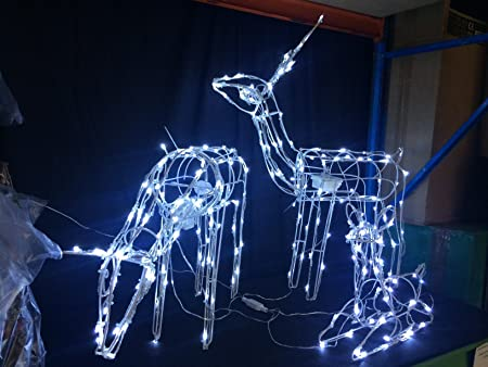 light up reindeer set of 3 outdoor christmas xmas moving decoration 100 led