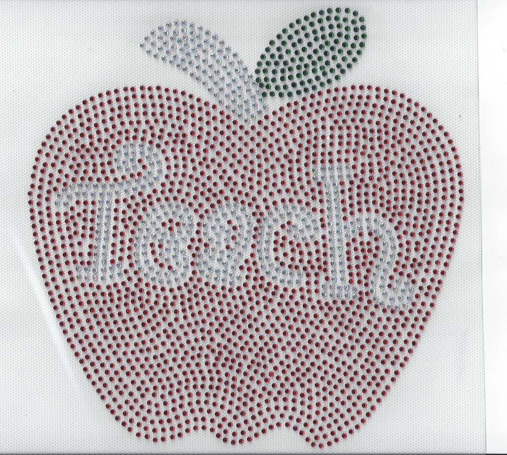 Teacher Rhinestone Apple Hot Fix Heat Press Transfer MOTIF Applique teach Appreciation School Student