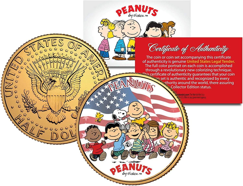 PEANUTS CHARLIE BROWN//SNOOPY AMERICANA 24KT GOLD U.S W//H COA! JFK HALF DOLLAR