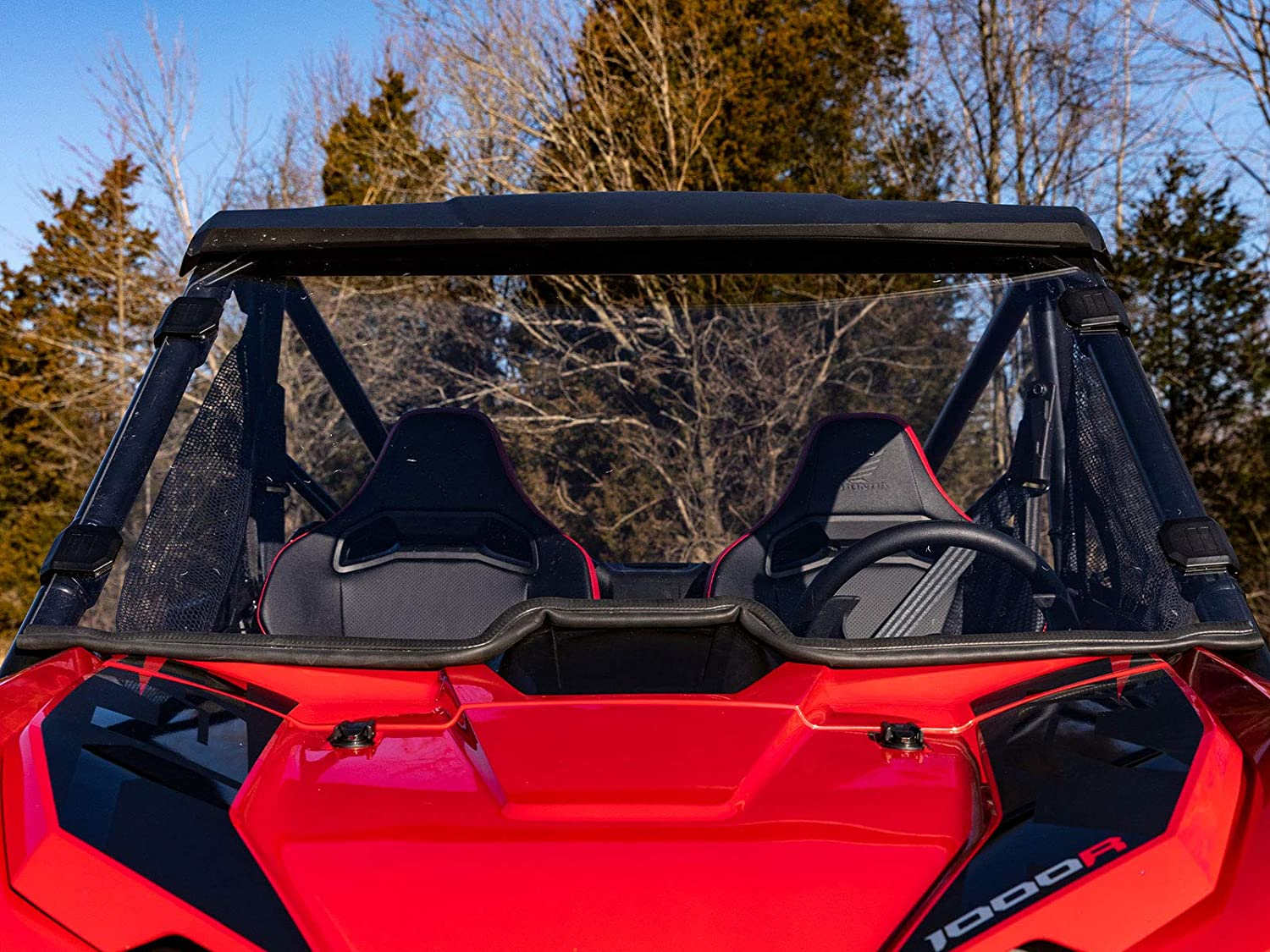 Installs In 5 Minutes! SuperATV Heavy Duty Scratch Resistant Full Windshield for Honda Talon 1000X // 1000R 2019+ Hard Coated for Extreme Durability - Clear