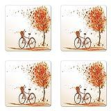 Ambesonne Bicycle Coaster Set of 4, Autumn Tree