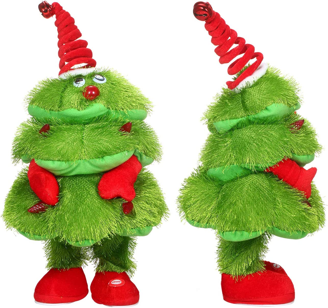 Green Battery is not Included Decdeal Doll Christmas Electric Plush Doll Christmas Stuffed Doll Singing Dancing Glowing Christmas Tree Fun Decorations Gifts for Kids