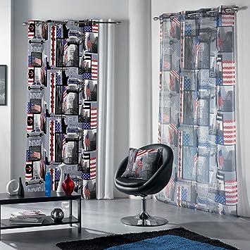 Douceur d\'Intérieur rideaux 140x240 cm à oeilletsnew york drapeau ...