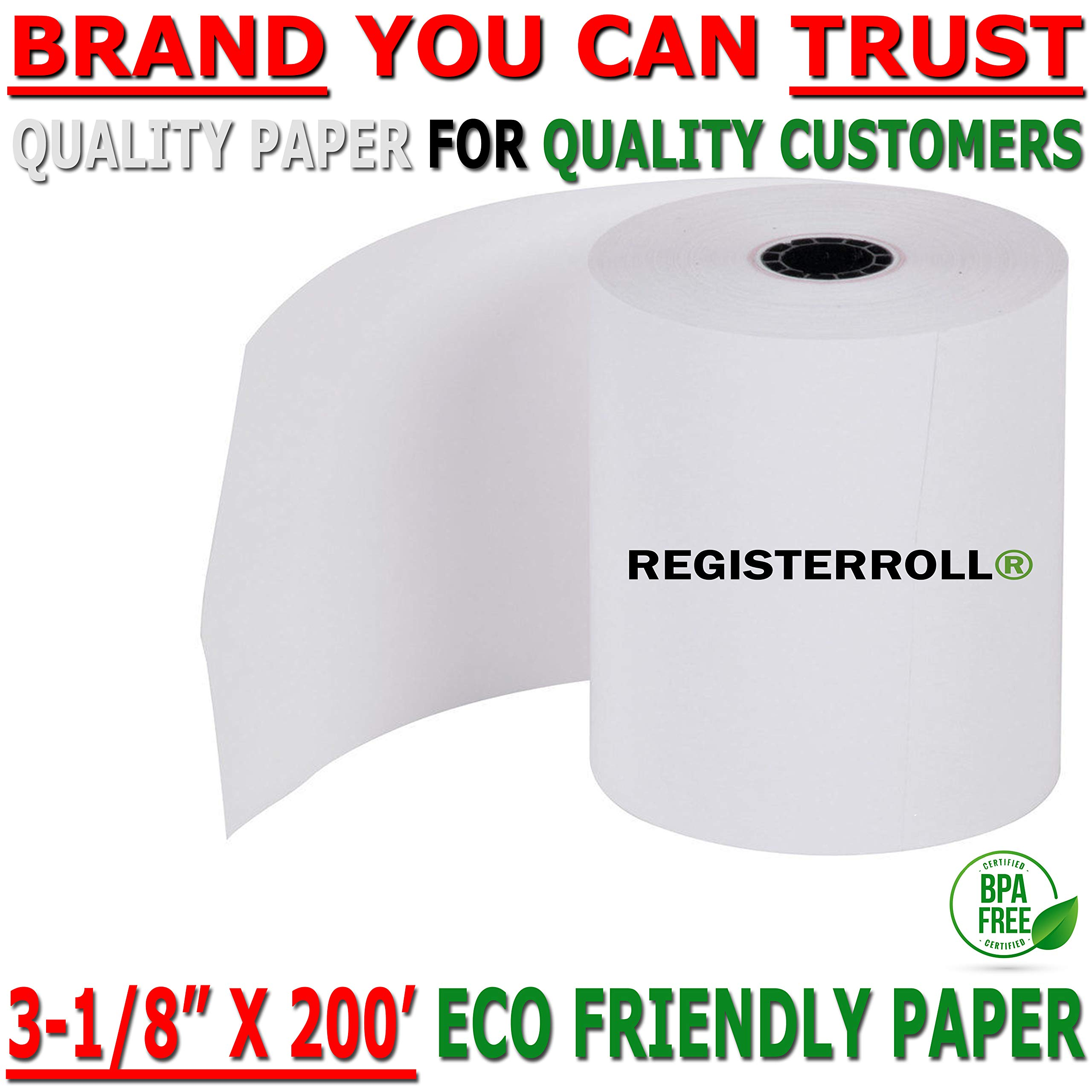 3 1 8 x 200 Thermal Paper roll 50 Pack   Super Saver Pack   Eco Friendly Premium Quality BPA Free - Cash Register Rolls - from RegisterRoll by RegisterRoll