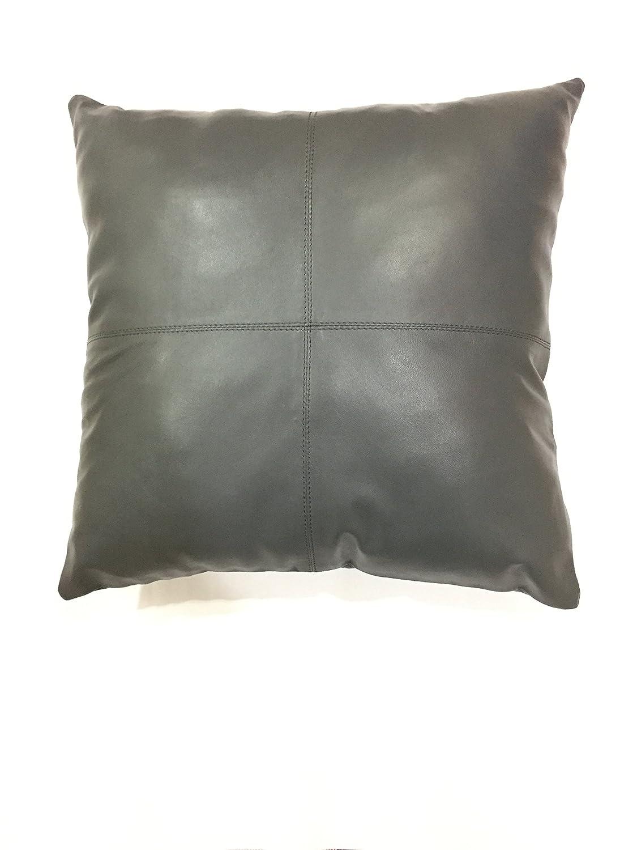 レザーファームの厚手本革の枕カバーグレー装飾のソファスロー枕ケースグレーレザーソリッド色クッションカバー 20''x20'' グレー 20''x20''  B078MN5R6W