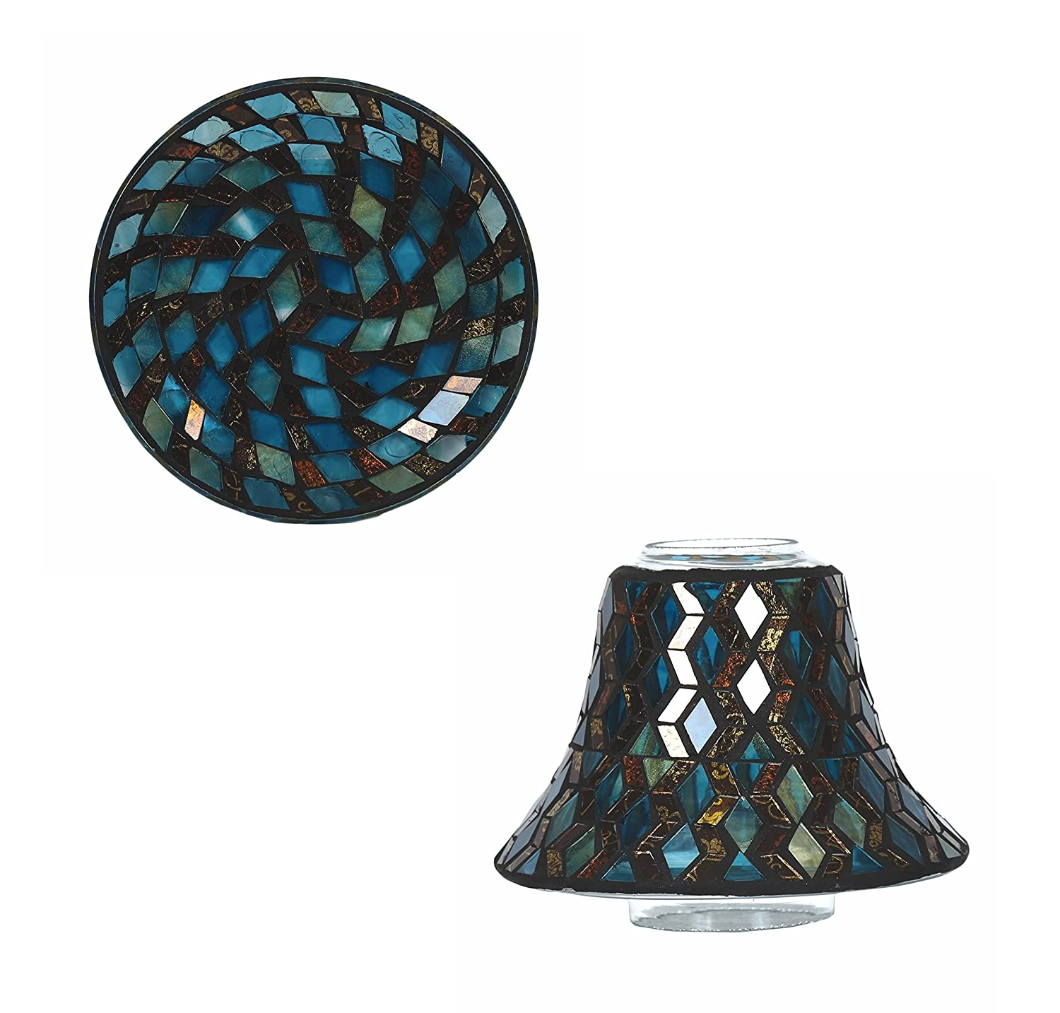Aromatize Teal Candle Lamp & Plate Gift Set
