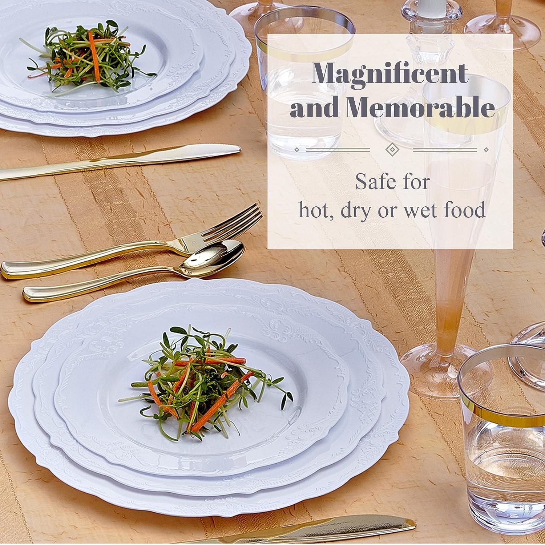 Silver Spoons VAJILLA para Fiestas DESECHABLE Vintage Collection 20 Platos para Ensalada| Platos de plástico Resistente | Elegante Aspecto de Porcelana Fina ...