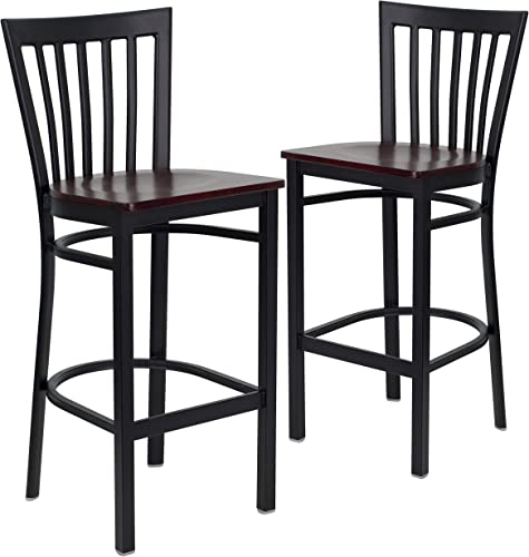 Flash Furniture 2 Pk. HERCULES Series Black School House Back Metal Restaurant Barstool - Mahogany Wood Seat