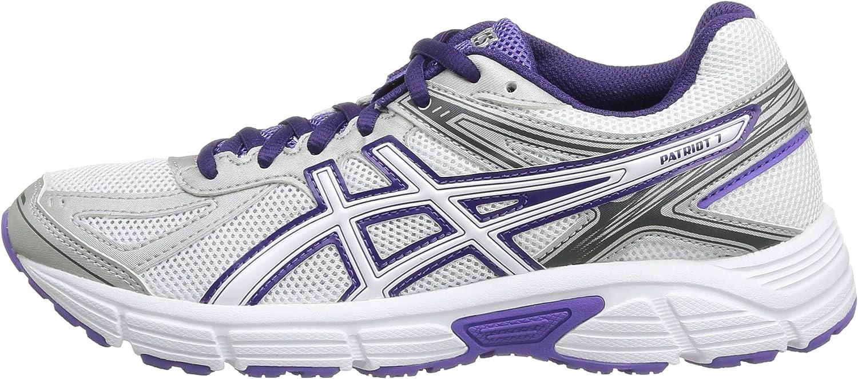 Asics Patriot 7 - Zapatillas de running para mujer, Wht/P.Wht/Purp, 43.5: Amazon.es: Zapatos y complementos