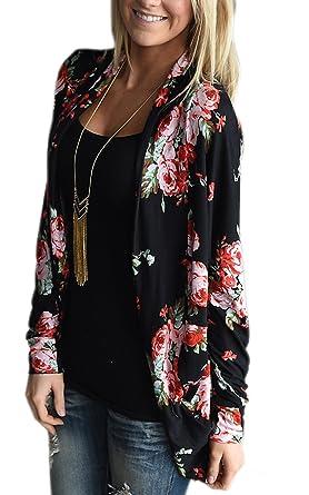 ECOWISH Womens Boho Irregular Long Sleeve Wrap Kimono Cardigans ...