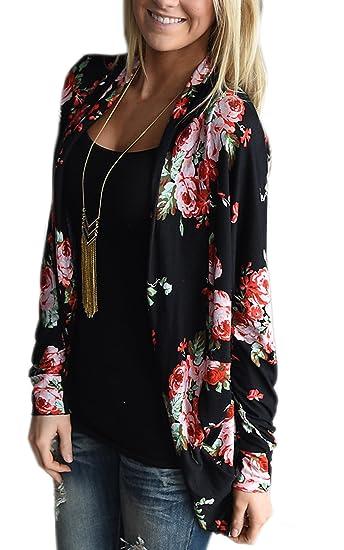 6d61d49e1 ECOWISH Womens Boho Irregular Long Sleeve Wrap Kimono Cardigans Casual  Coverup Coat Tops Outwear S-3XL