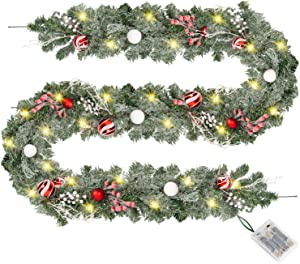 Rocinha 6FT Artificial Prelit Christmas Garland with 20 LED Lights Xmas Greenery Garland with Pine Berries Decor for Mantle,Fireplace,Stairs,Door Holiday Garland Christmas Decoration Indoor Outdoor