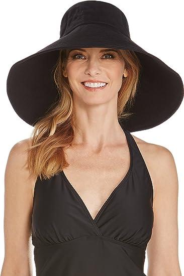Coolibar UPF 50+ Women s Beach Hat - Sun Protective (One Size- Black ... 9bf86adb8be1