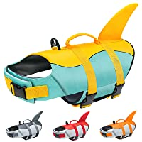 Malier Dog Life Jacket, Ripstop Dog Life Vest Adjustable Dog Life Preserver with Strong Buoyancy and Durable Rescue Handle Pet Lifesaver for Small Medium Large Dogs Swimming Boating (Yellow, Medium)
