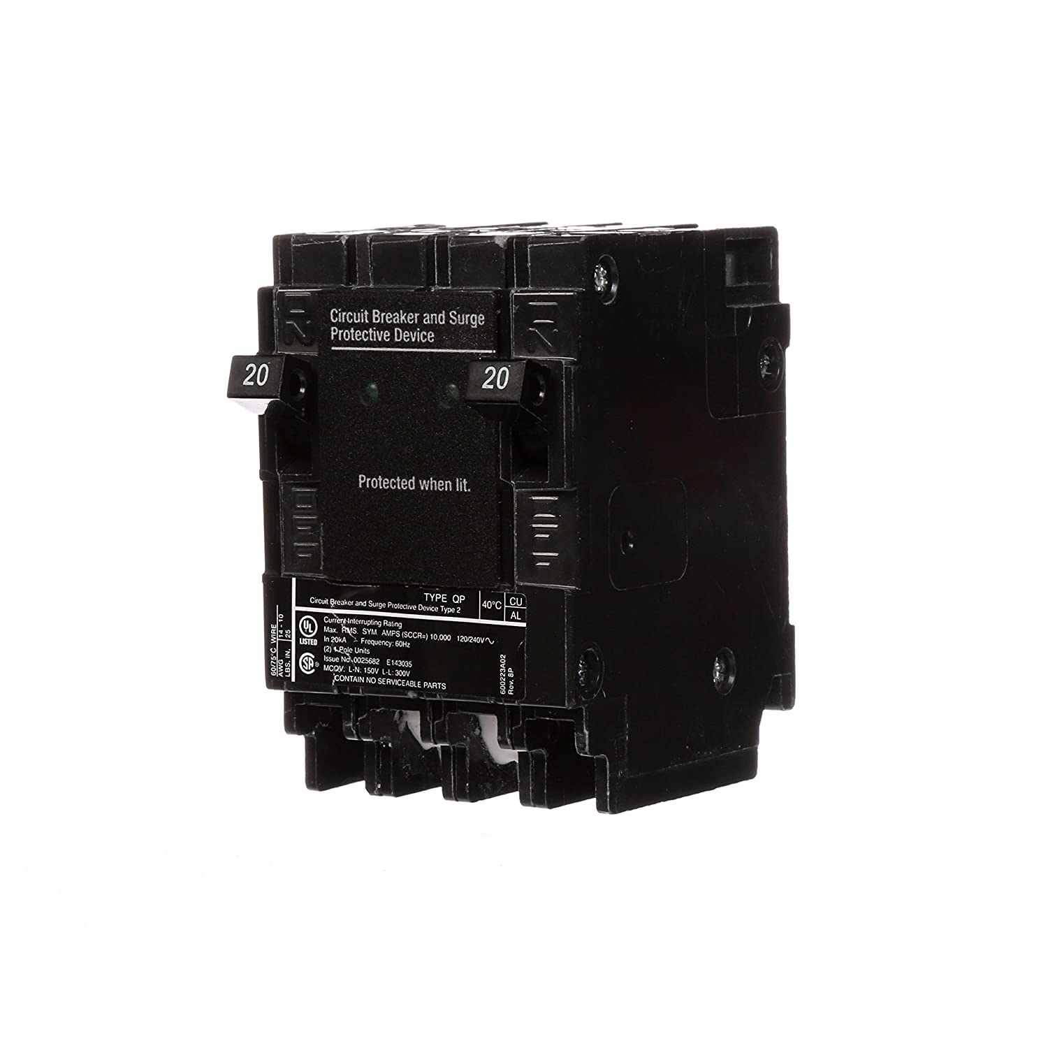 Siemens QSA2020SPD Whole House Surge Protection with Two 20-Amp Circuit Breakers for Use Only on Siemens Panels