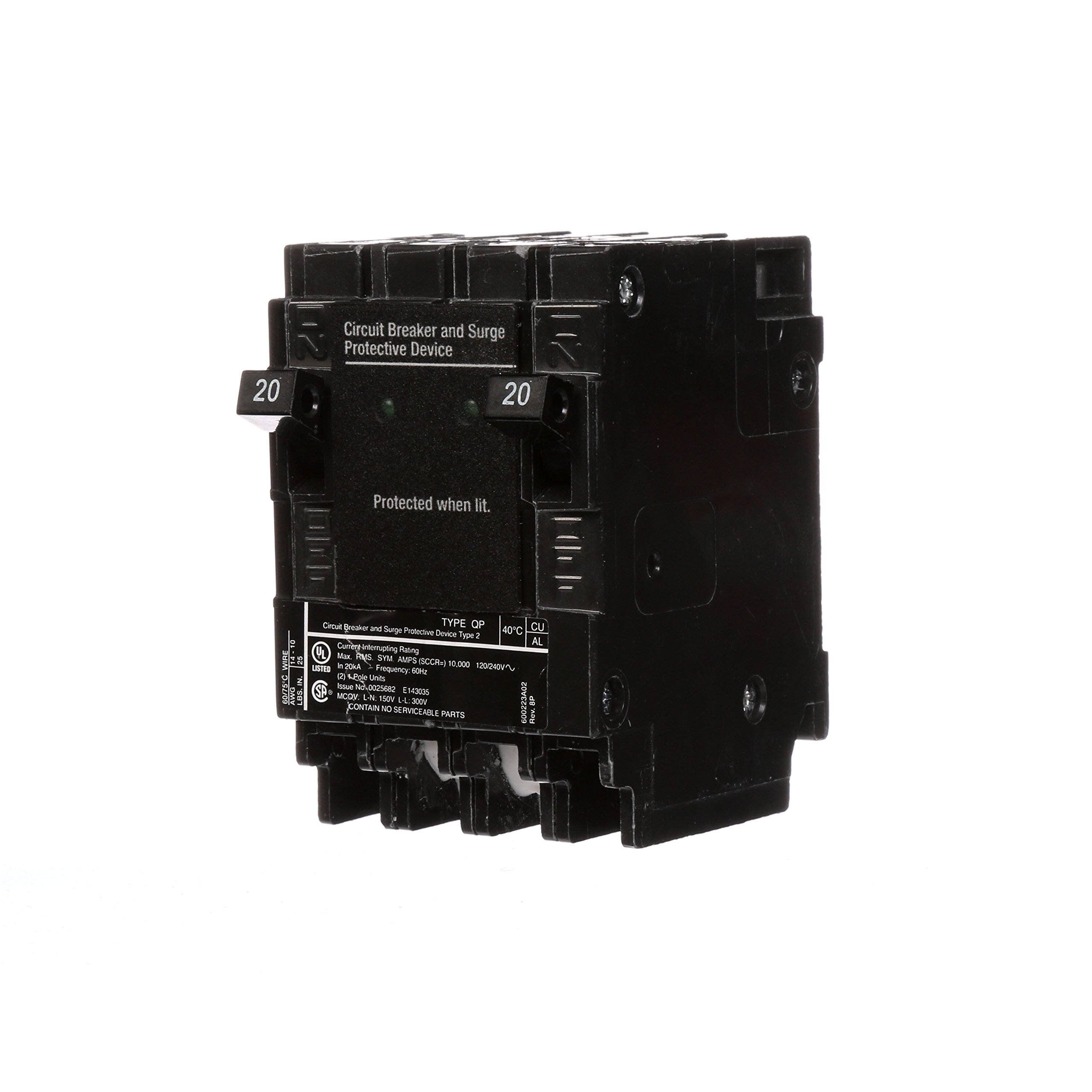 Best Rated In Arc Fault Circuit Breakers Helpful Customer Reviews New Old Home Fuse Panel Boxes To Changing Siemens Qsa2020spd Whole House Surge Protection With Two 20 Amp For Use Only