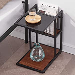 VECELO Classic 2-Tiers Accent C, Side/End/Coffee Table with Metal Mesh Storage Basket, Brown