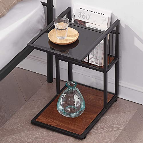 VECELO Classic 2-Tiers Accent C, Side End Coffee Table with Metal Mesh Storage Basket, Brown