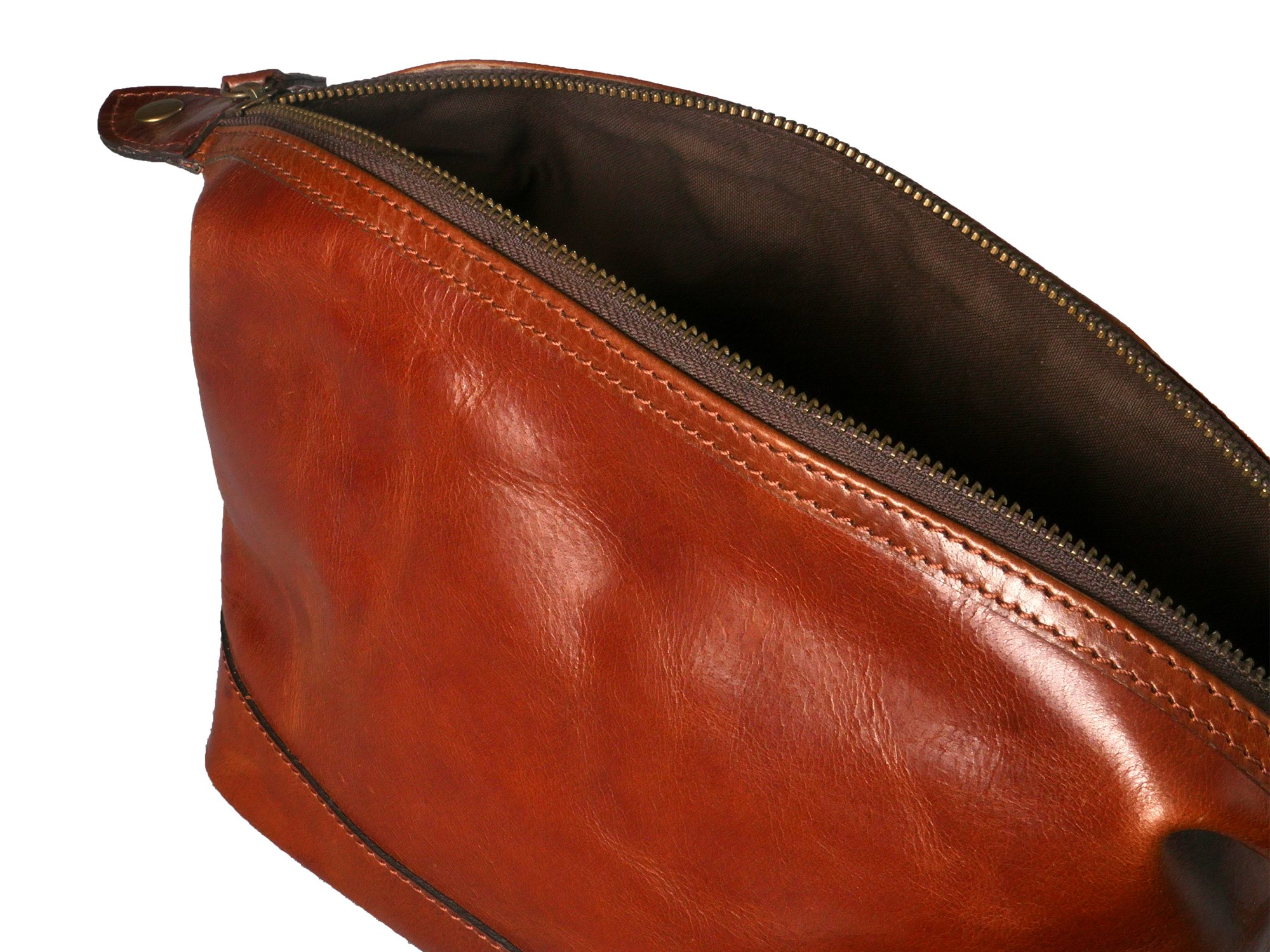 Leather Toiletry Bag for Men – Zippered Dopp Kit Organizer – Brown Travel Shaving Kit Case (9x5x7) by Bayfield Bags by Bayfield Bags (Image #4)