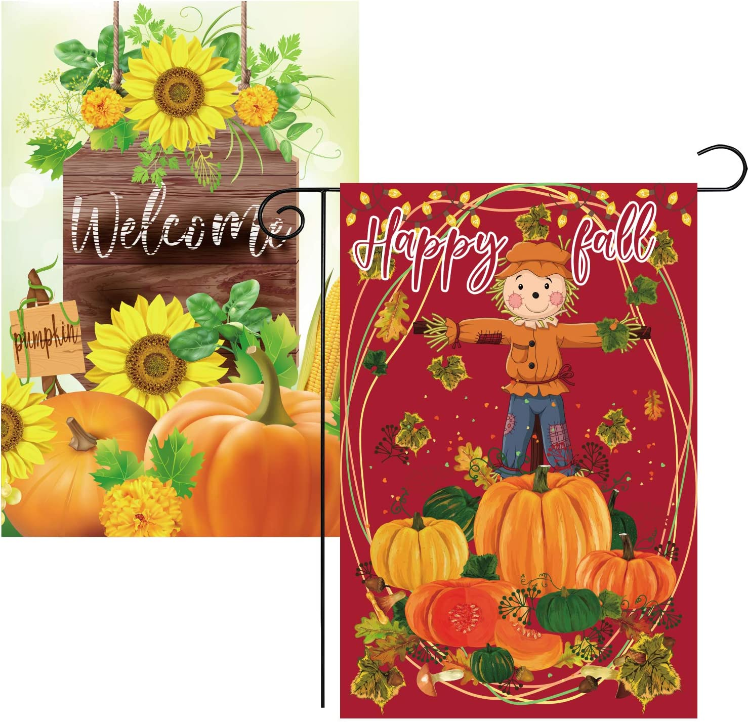 URATOT 2 Pack Double Sided Fall Garden Flag 12 x 18 Inch Happy Fall Pumpkin Garden Flag for Autumn Outdoor Decoration