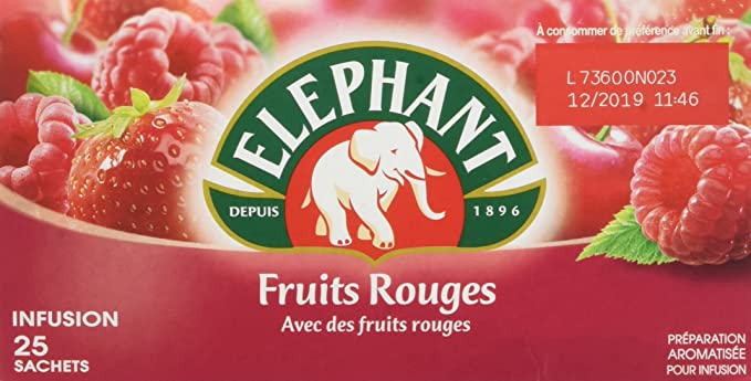 Elephant Infusion Fruits Rouges 25 Sachets Lot De 4 Amazonfr