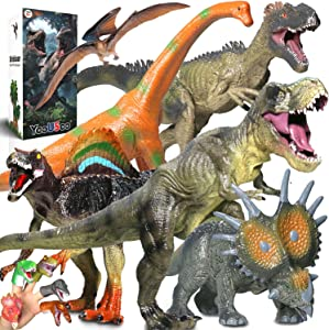 Jumbo Dinosaur Toys Set,6 PCS Dinosaur Figures + 5 PCS Dinosaur Finger Puppets,Realistic Large Dinosaur Model -for Kids Boys,Girls Party Gifts-Birthday Favors