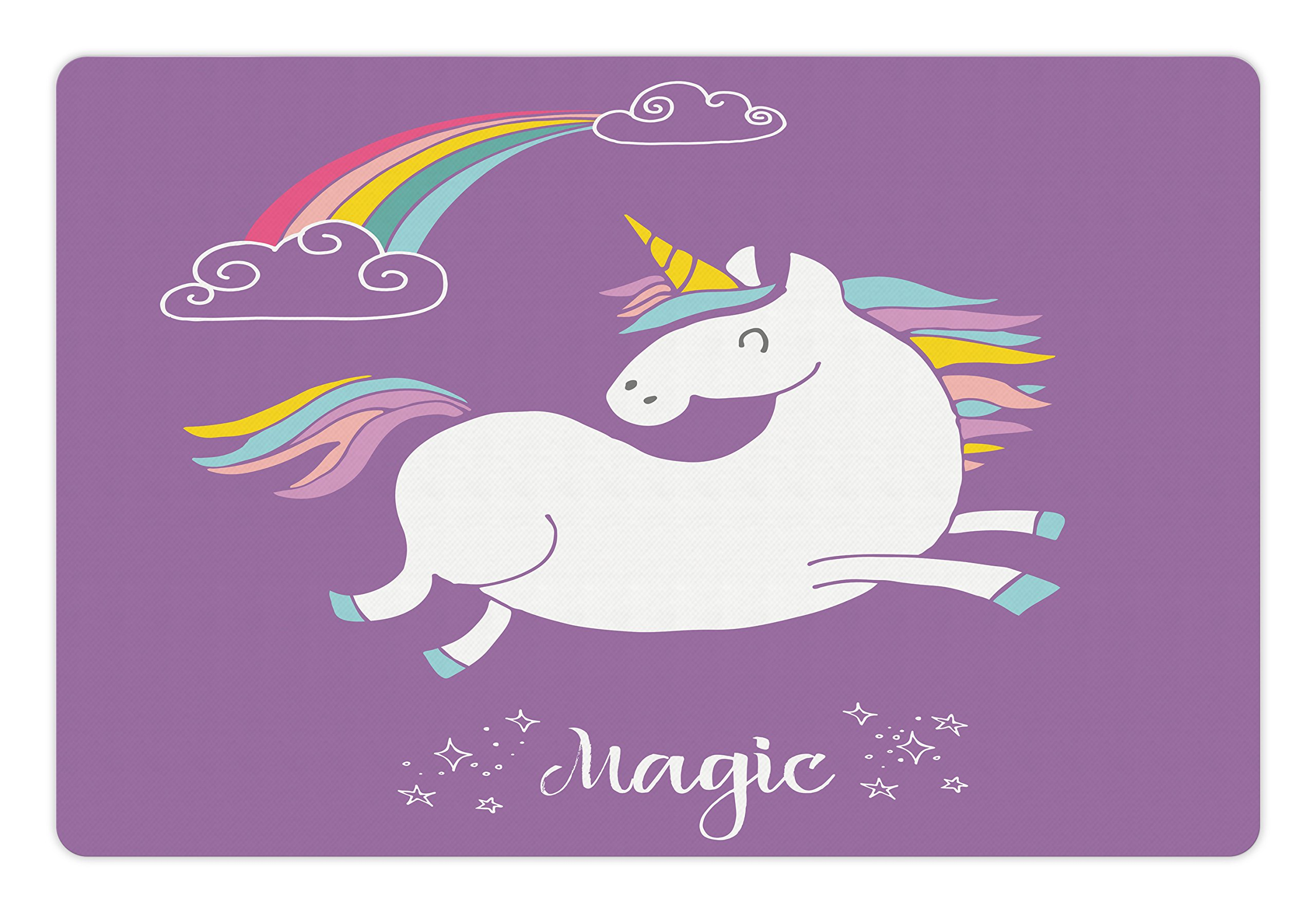 Ambesonne Unicorn Pet Mat for Food and Water, Mythical Animal with Clouds and Rainbow Figure Fairy Cute Unicorn Image Print, Rectangle Non-Slip Rubber Mat for Dogs and Cats, Lavander White