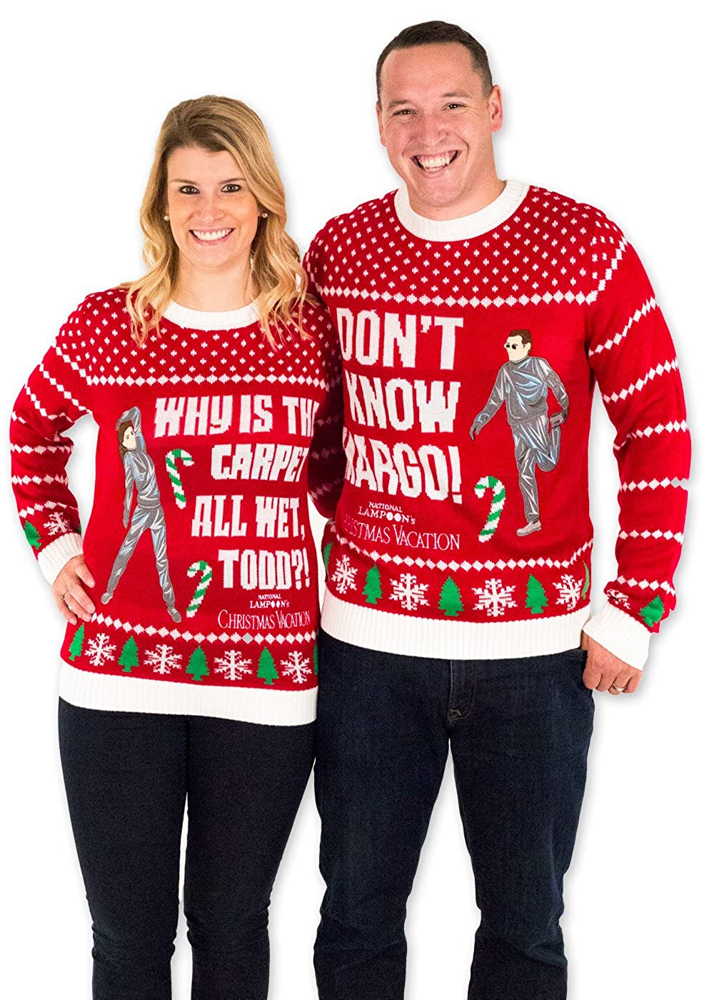 Festified Mens Christmas Vacation I Dont Know Margo Ugly Sweater In Red By At Amazon Mens Clothing Store