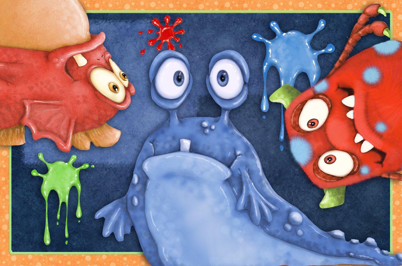 Borders Unlimited Monster Splat Memory Foam Children's Bathroom Mat, Multicolor