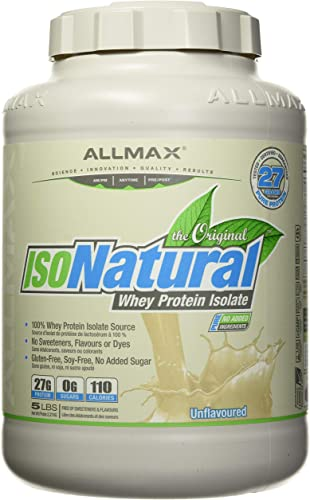 ALLMAX Nutrition IsoNatural, Pure Whey Protein Isolate, The Original, Unflavored, 5 lbs 2.25 kg
