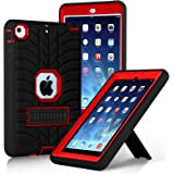 iPad Mini Case,iPad Mini 2 Case,iPad Mini 3 Case,iPad mini Retina Case, Elegant Choise Heavy Duty Three Layer Armor Defender Protective Case Cover with Kickstand for iPad Mini 1/2/3 (Red+Black)