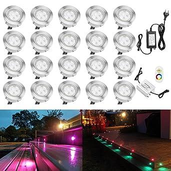 Terrassen Einbaustrahler Qaca 20er Set Boden Einbauleuchten Aussen Rgb Led Treppen Beleuchtung O45mm Bodeneinbaustrahler Ip67 Wasserdicht