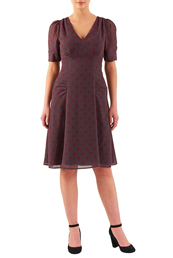 Plus Size Retro Dresses eShakti Womens Polka dot print empire georgette dress $54.95 AT vintagedancer.com