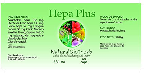 NaturalDietHerb- Hepa Plus 531 mg 60 caps / Ayuda Hígado . / Alcachofera-Boldo