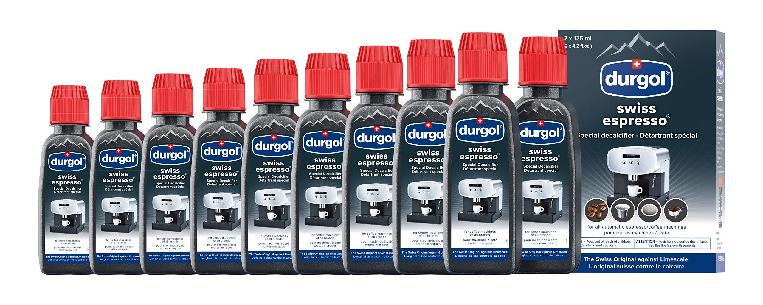 Durgol Swiss Espresso Decalcifier for All Brands High-End Espresso Machines, 4.2 Fluid Ounce Bottle, 5-Pack