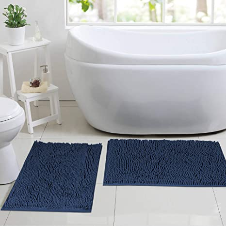 Amazon Com Microfiber Bath Rugs Chenille Floor Mat Ultra Soft Washable Bathroom Shaggy Shower Rugs For Bathroom Dry Fast Water Absorbent Bedroom Area Rugs 17 X 24 17 X 24 Navy Home Kitchen