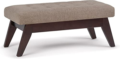 SIMPLIHOME Draper 40 inch Wide Rectangle Ottoman Bench Fawn Brown Tufted Footrest Stool