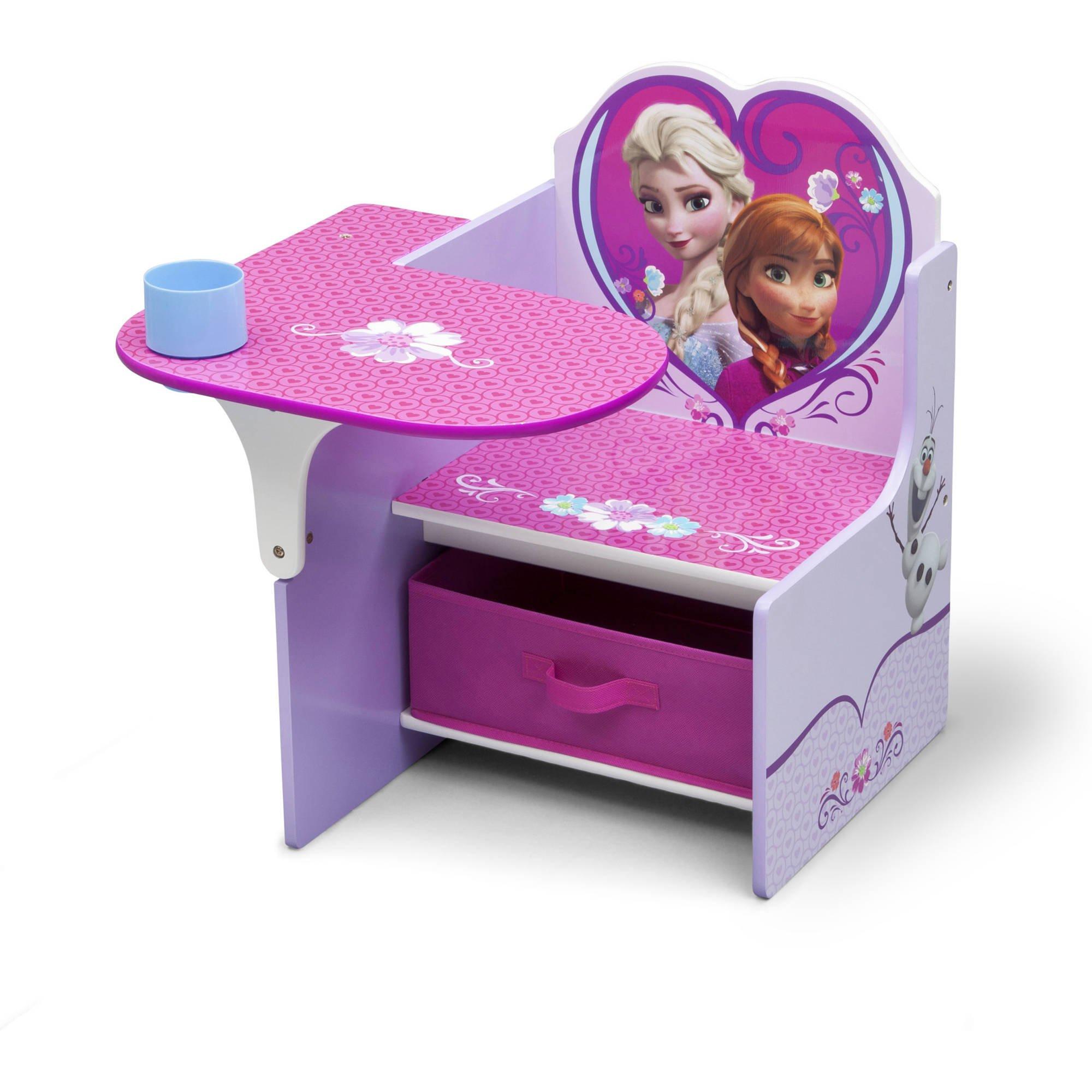 Disney Frozen Kids Activity and Study Desk Chair with Fabric Storage/Organizer Bin