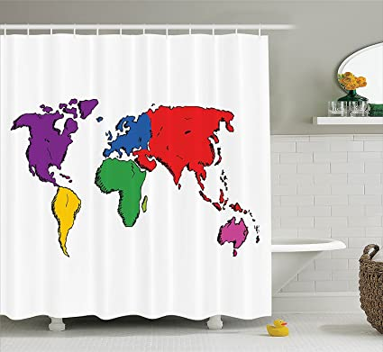 Amazon mirryderr wanderlust decor shower curtain set colorful mirryderr wanderlust decor shower curtain set colorful contemporary illustration of world map image where people gumiabroncs Gallery