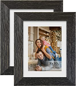 DDaoty 8x10 Wood Picture Frames with 5x7 Mat and High Definition Real Glass, Wooden Photo Frames for Tabletop or Wall Display, 2 Pack, Vintage Black