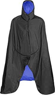 product image for Mambe Extreme Weather 100% Waterproof/Windproof Hooded Blanket with Premium Stuff Sack (Size: Large, Black-Royal) Made in The USA
